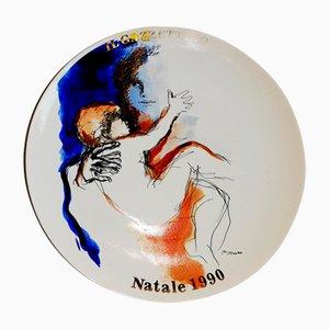 Piatto vintage in ceramica di Renato Guttuso per Tognana, anni '90