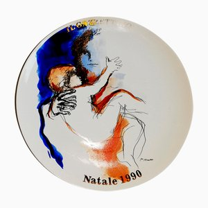 Vintage Keramikteller von Renato Guttuso für Tognana, 1990er