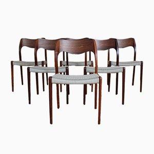 Dänische Modell 71 Esszimmerstühle aus Palisander von Niels Otto Møller für JL Møllers, 1950er, 6er Set