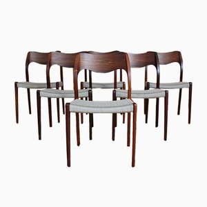 Danish Rosewood Model 71 Dining Chairs by Niels Otto Møller for J.L. Møllers, 1950s, Set of 6