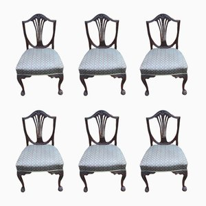 Vintage Mahogany Dining Chairs, 1920s, Set of 6