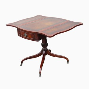 Mid-Century Mahogany & Leather Drop-Leaf Table, 1960s