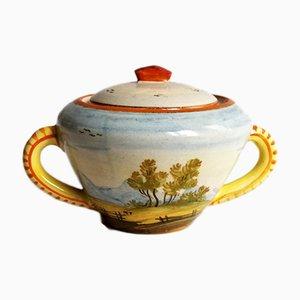 Mid-Century Italian Ceramic Lidded Bowl from Castelli