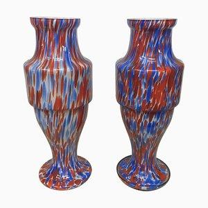 Jarrones de opalina en azul y rojo de Carlo Moretti, años 70. Juego de 2