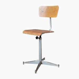 Sedia da scrivania in metallo, compensato e legno, anni '50