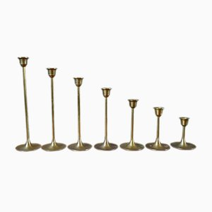 Brass and Metal Candleholder Set, 1950s