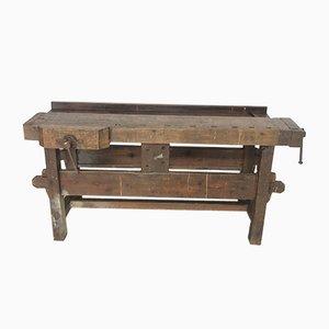 Banco da lavoro vintage industriale in legno, anni '20