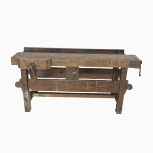Vintage Industrial Wooden Worktable, 1920s