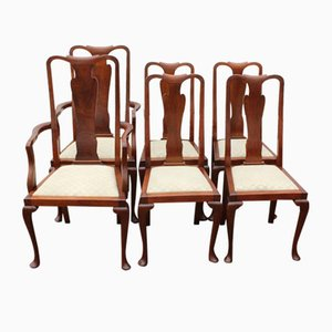 Vintage Queen Anne Style Mahogany Dining Chairs, 1920s, Set of 6