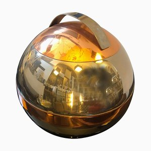Cubitera italiana era espacial con plato de cobre y baño de plata, años 70