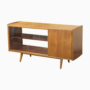 Ash Sideboard with Glass Sliding Doors by Frantisek Jirak, 1960s