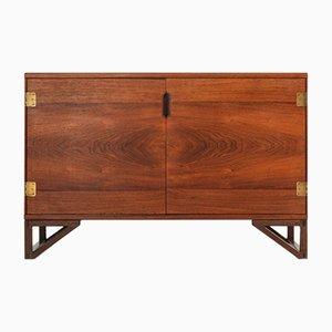 Mueble danés escandinavo moderno de latón y madera de Svend Langkilde, años 50