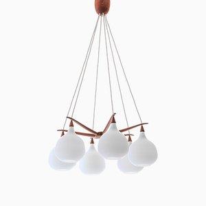 Lampada da soffitto Spider moderna in vetro opalino e teak di Uno & Östen Kristiansson per Luxus, Scandinavia, 1956