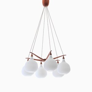 Scandinavian Modern Opaline Glass and Teak Spider Ceiling Lamp by Uno & Östen Kristiansson for Luxus, 1956