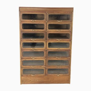 Vintage Industrial Glass and Oak Cabinet, 1920s
