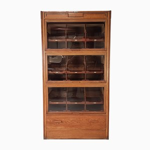 Mid-Century Industrial Glass and Oak Cabinet, 1950s