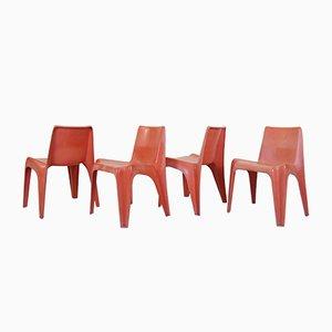 Deutsche BA 1171 Gartenstühle aus rotem Fieberglas von Helmut Bätzner für Bofinger, 1960er, 4er Set