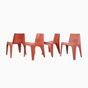 German BA 1171 Red Fiberglass Garden Chairs by Helmut Bätzner for Bofinger, 1960s, Set of 4
