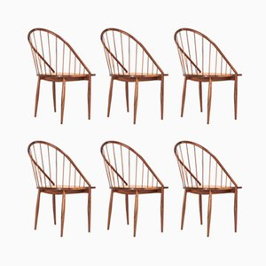 Postmodern Cane and Jacaranda Armchairs by Joaquim Tenreiro, 1960s, Set of 6