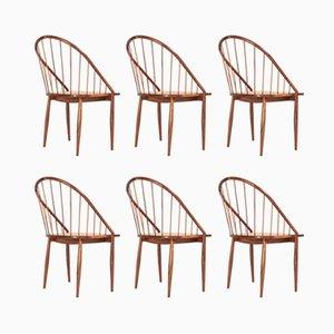 Postmoderne Armlehnstühle aus Schilfrohr und Jacaranda von Joaquim Tenreiro, 1960er, 6er Set