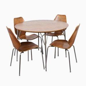 Mesa de comedor y sillas danesas Mid-Century de aluminio y contrachapado, años 60