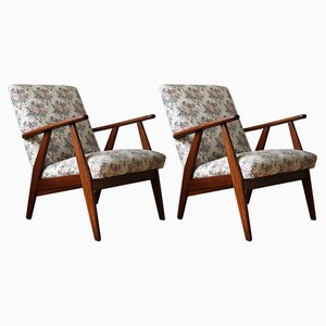 Fabric and Teak Lounge Chairs, 1960s, Set of 2