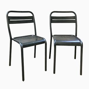 Mid-Century Industrial French Raw Metal Side Chairs, 1940s, Set of 2