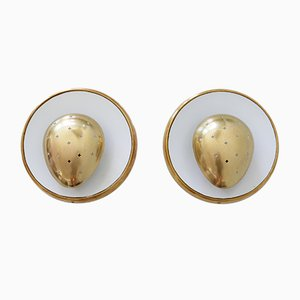 Mid-Century Modern French Brass Sconces, Set of 2