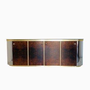 Italienisches Vintage Sideboard aus Messing, Spiegel und Wurzelholz, 1970er