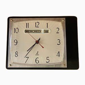 Reloj francés Mid-Century de latón, metal y formica de Jaz