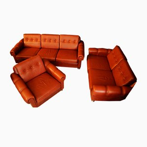 Mid-Century Danish Leather Living Room Set, 1960s