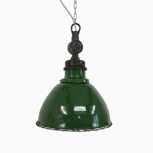 Industrial Cast Iron and Steel Ceiling Lamp from Wardle, 1930s
