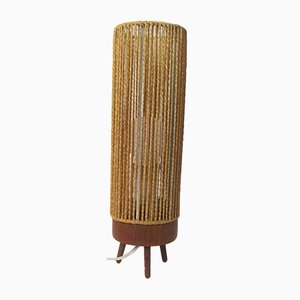 Scandinavian Modern Teak and Rope Table Lamp, 1950s