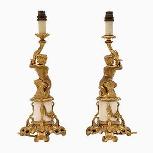 Antike französische Tischlampen aus vergoldeter Bronze und Marmor, 2er Set