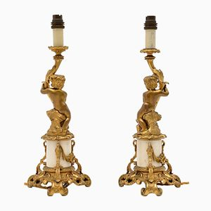 Antique French Gilt Bronze and Marble Table Lamps, Set of 2