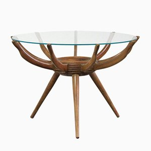 Italian Glass and Wood Coffee Table by Carlo de Carli, 1950s