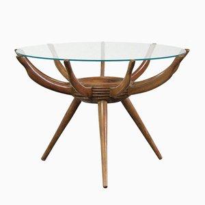 Tavolino da caffè in vetro e legno di Carlo de Carli, Italia, anni '50