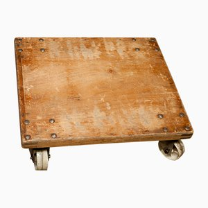 Industrial German Beech and Plywood Trolley Table, 1950s