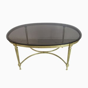 Regency Style Bronze and Smoked Glass Coffee Table, 1950s