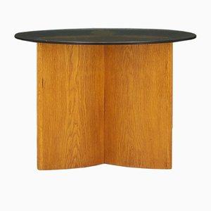 Mesa de centro danesa vintage de vidrio y roble, años 70