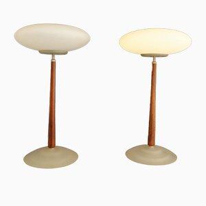 Minimalistische italienische Tischlampe aus Kirschholz & Milchglas von Matteo Thun für Arteluce, 1990er