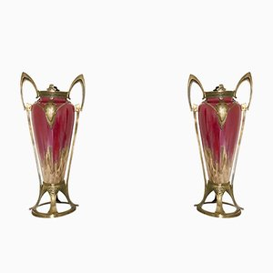 Art Nouveau Ceramic Vases from Honegger, 1900s, Set of 2
