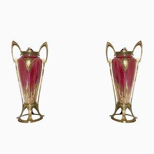 Vases Art Nouveau en Céramique de Honegger, 1900s, Set de 2