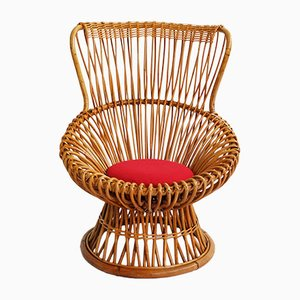 Italian Bamboo Peacock Chair by Franco Albini for Vittorio Bonacina, 1950s