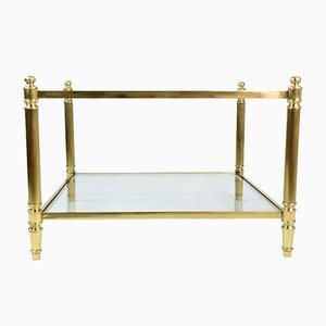 Vintage French Brass and Glass Coffee Table, 1970s
