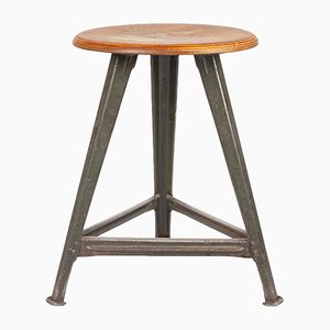 Vintage Industrial German Metal and Plywood Stool by Robert Wagner for Rowac