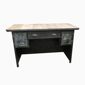 Antique Industrial Oak and Galvanized Metal Naval Desk
