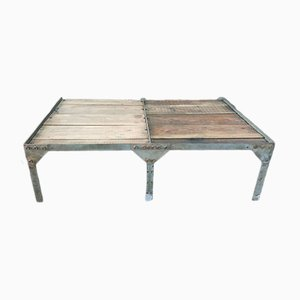 Industrial Fir and Galvanized Metal Coffee Table, 1950s