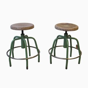 Vintage Industrial Steel Bar Stools, 1970s, Set of 2
