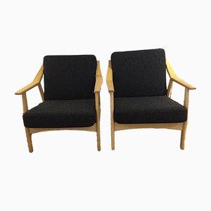 Danish Oak & Wool Lounge Chairs by H. Brokmann-Petrsen, 1960s, Set of 2